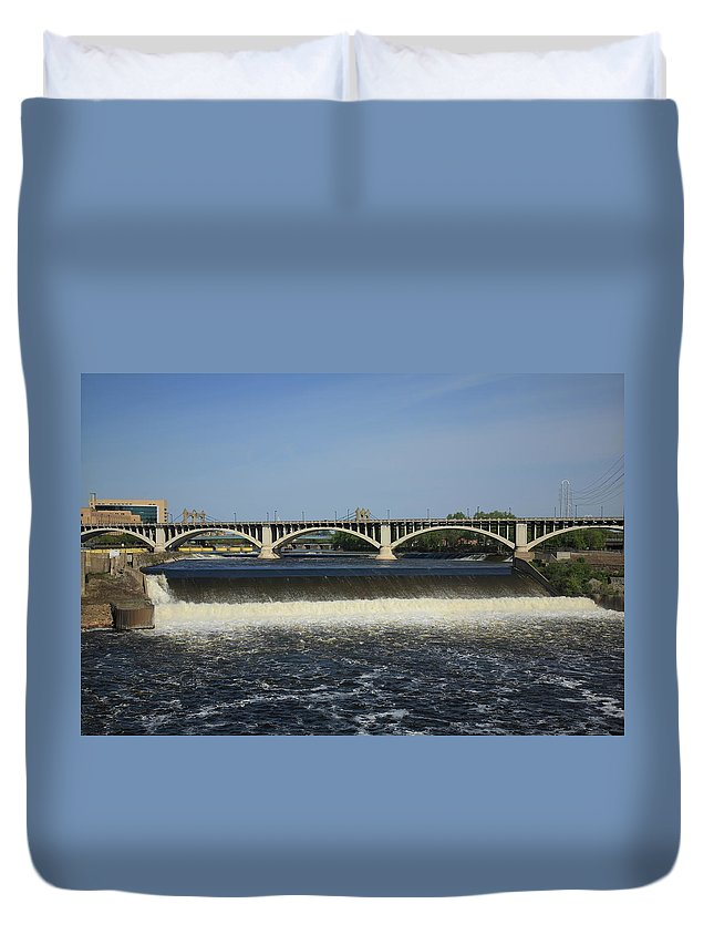 Anthony Duvet Cover featuring the photograph Minneapolis - Saint Anthony Falls by Frank Romeo