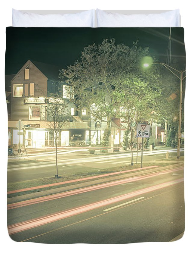 New Duvet Cover featuring the photograph Newport Rhode Island City Streets In The Evening by Alex Grichenko