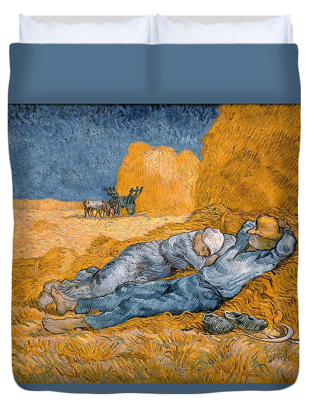 Genre Painting Duvet Cover featuring the painting Noon Rest From Work by Vincent van Gogh