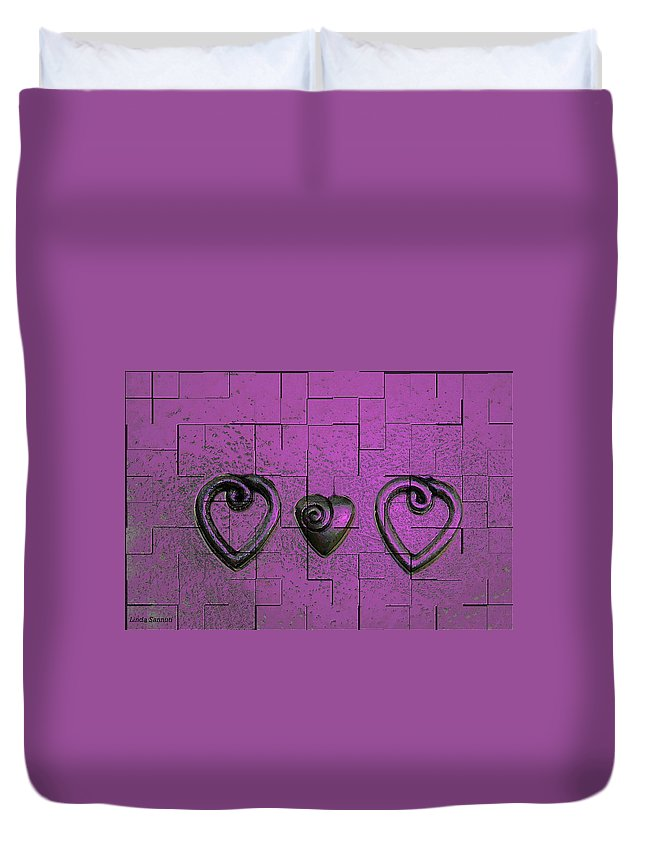 Abstracts Pink Purple Duvet Cover featuring the photograph 3 Of Hearts by Linda Sannuti