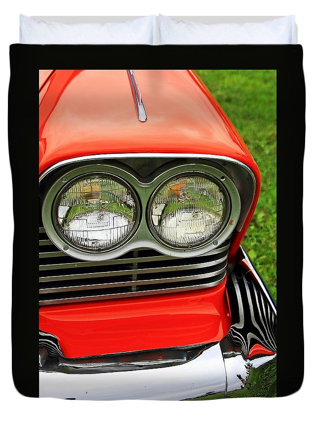Cars Duvet Cover featuring the photograph Old Car Headlight by Karl Rose