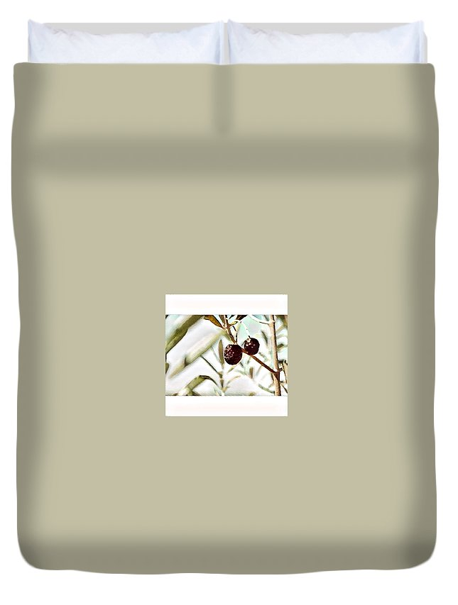 Duvet Cover featuring the digital art Olives by Melinda Sullivan Image and Design