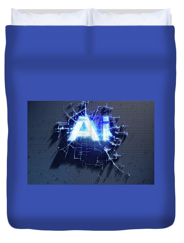 Artificial Intelligence Duvet Cover featuring the digital art Pixel Artificial Intelligence by Allan Swart