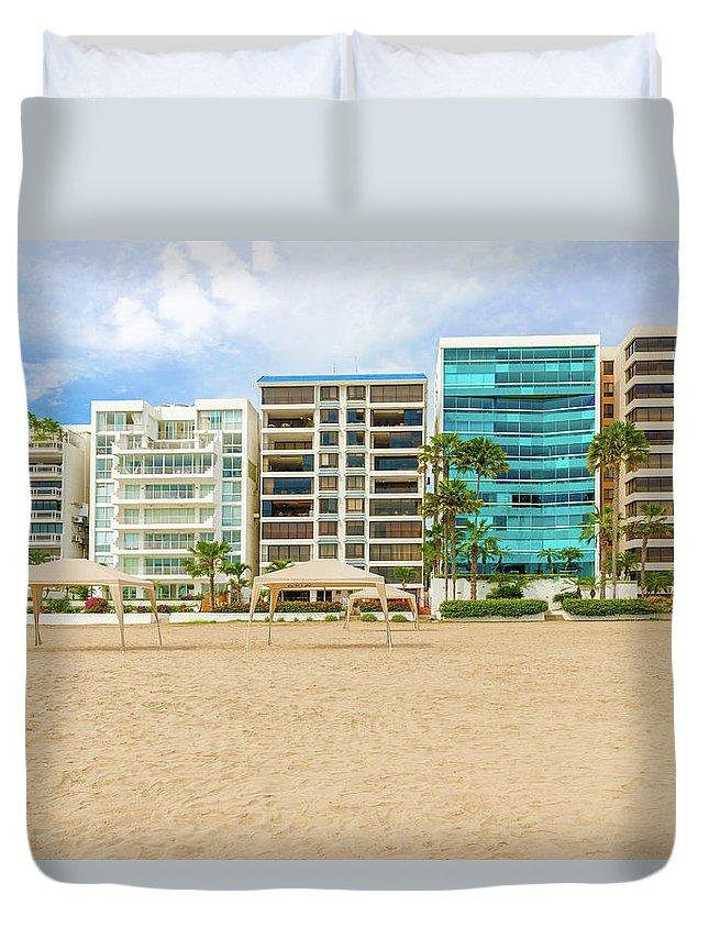 Beach Duvet Cover featuring the photograph Playa De Chipipe In Salinas, Ecuador by Marek Poplawski