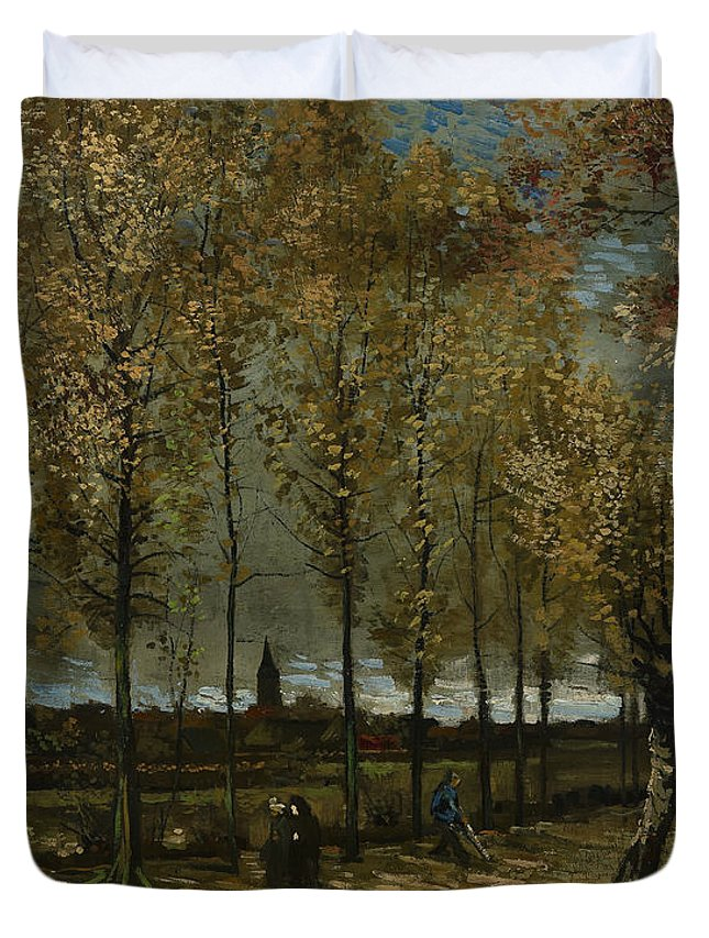 Van Gogh Duvet Cover featuring the photograph Poplars Near Nuenen by Vincent van Gogh