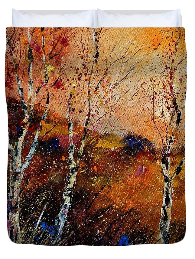 River Duvet Cover featuring the painting 3 Poplars by Pol Ledent
