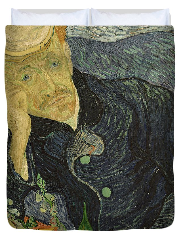 Vincent Van Gogh Duvet Cover featuring the painting Portrait Of Dr Gachet by Vincent van Gogh