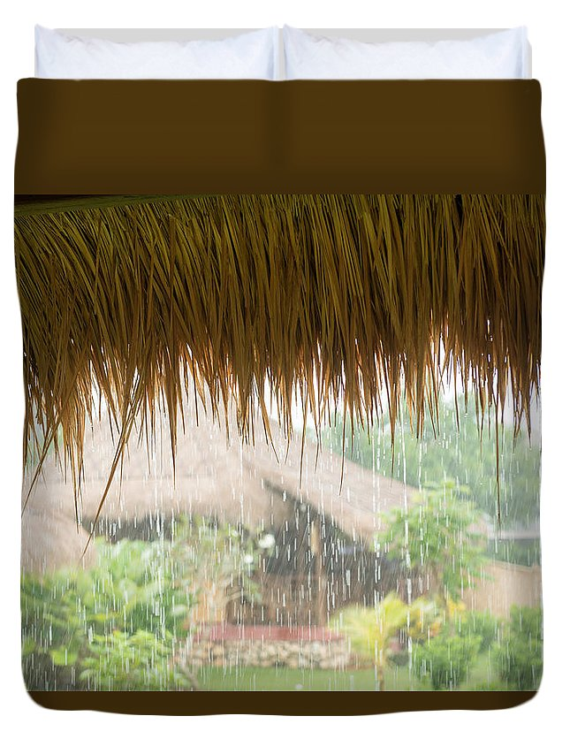 Asia Duvet Cover featuring the photograph Pouring Tropical Rain by Nikita Buida