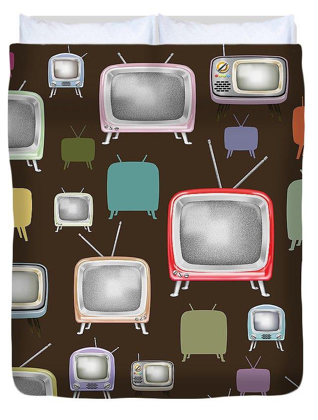Analog Duvet Cover featuring the painting retro TV pattern by Setsiri Silapasuwanchai