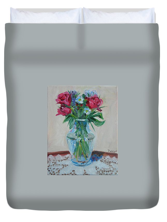 Roses Duvet Cover featuring the painting 3 Roses by Paul Walsh