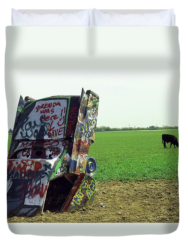 66 Duvet Cover featuring the photograph Route 66 - Cadillac Ranch by Frank Romeo