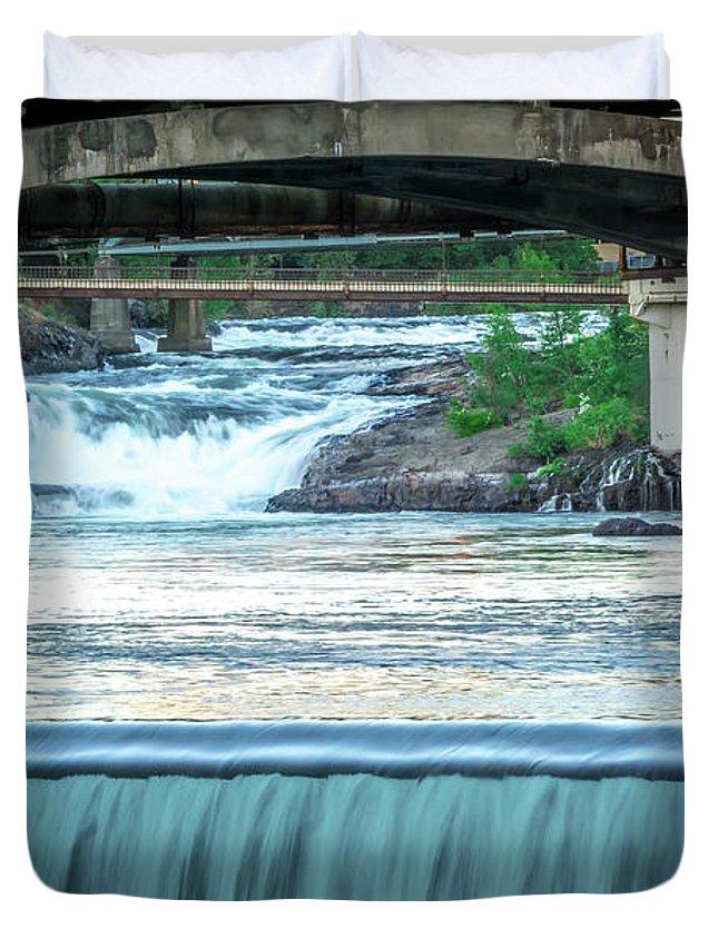 River Duvet Cover featuring the photograph Scenes Around Spokane Washington Downtown by Alex Grichenko
