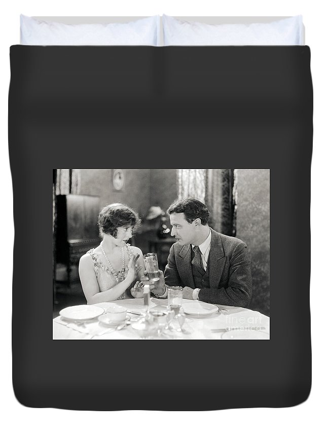-drinking- Duvet Cover featuring the photograph Silent Film Still: Drinking by Granger