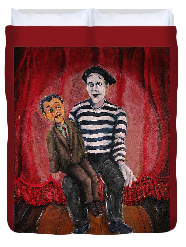 Ventriloquist Duvet Cover featuring the painting Silent Partners by Dennis Tawes