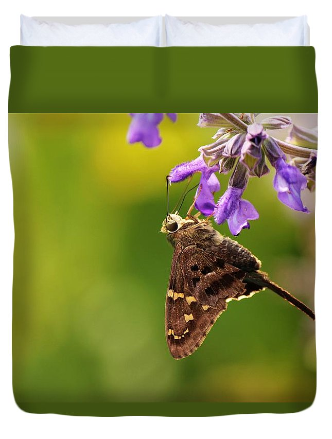 Nature Duvet Cover featuring the photograph Skipper by Peggy Burley