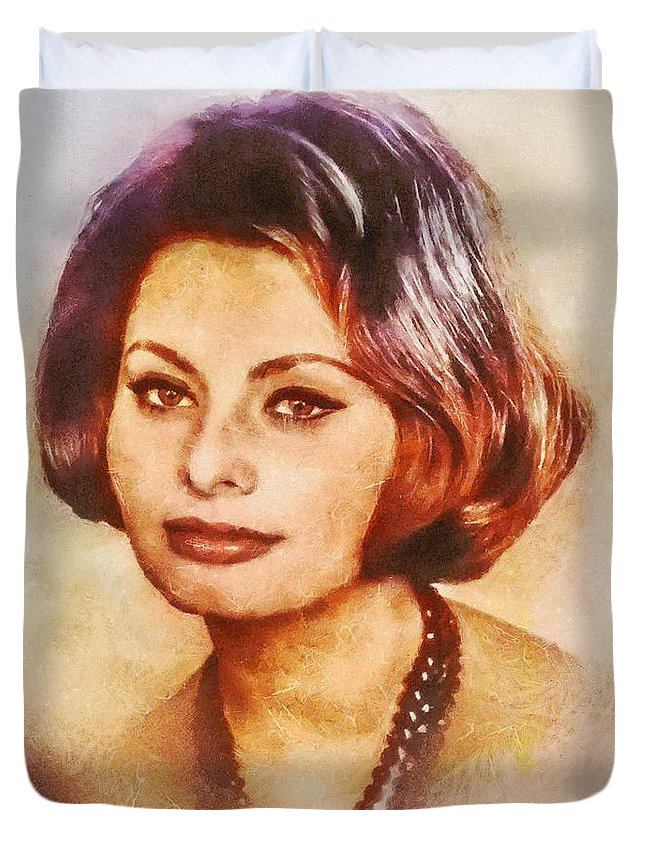Hollywood Duvet Cover featuring the painting Sophia Loren, Vintage Hollywood Actress by Mary Bassett