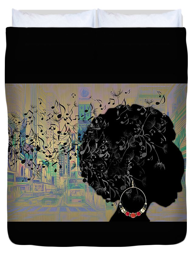 Music Duvet Cover featuring the mixed media Sound Of Music Collection by Marvin Blaine
