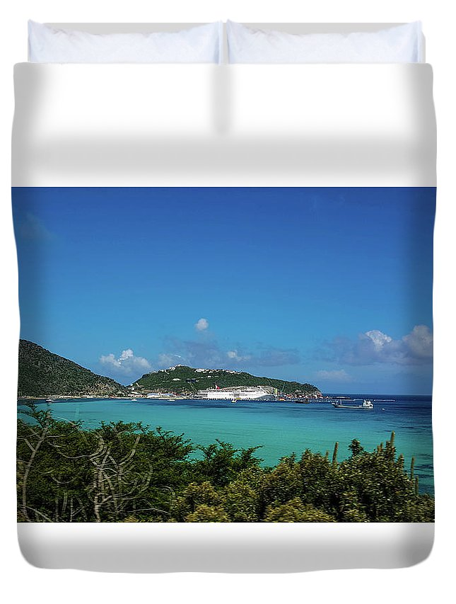 St. Marrten Duvet Cover featuring the photograph St. Marrten Caribbean Island by Nicole Badger