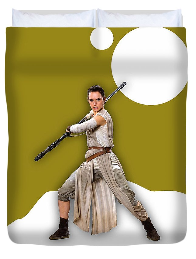 Rey Duvet Cover featuring the mixed media star Wars Rey Collection by Marvin Blaine