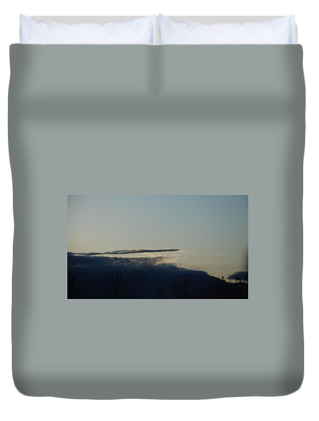Sunrise Duvet Cover featuring the photograph Sunrise Over The Sandias by Rob Hans