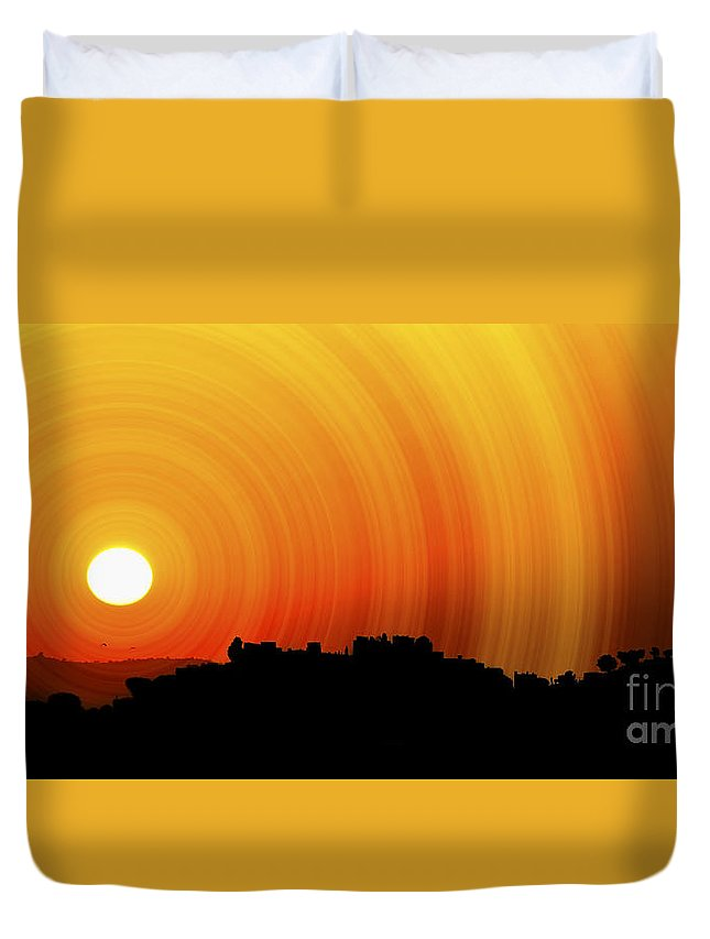 Sunset Duvet Cover featuring the photograph Sunset by Charuhas Images