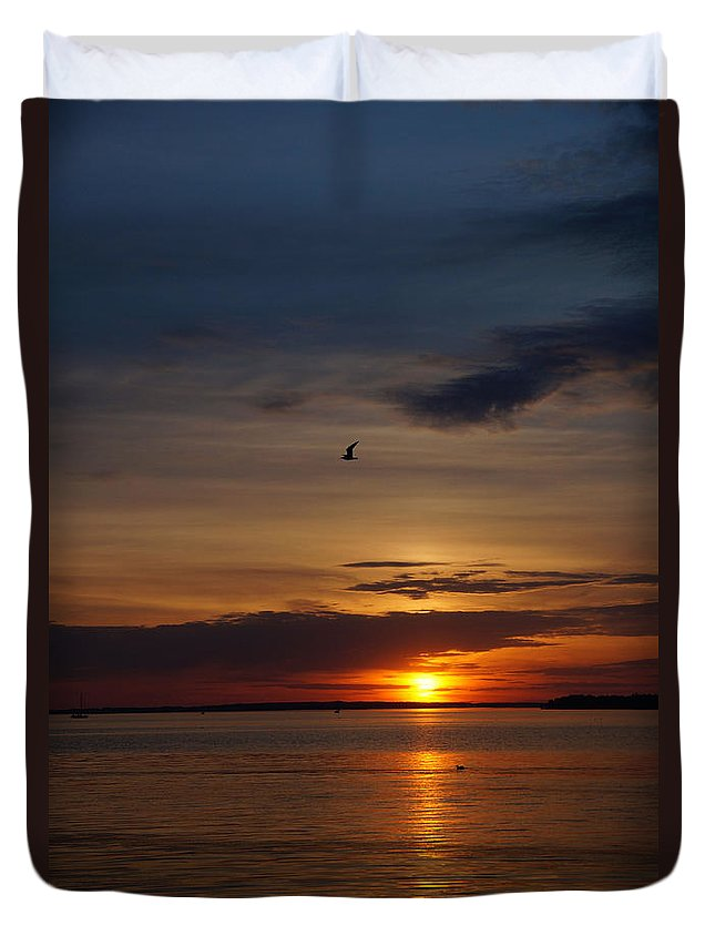 Water Duvet Cover featuring the photograph Sunset by Galia Nikolaeva