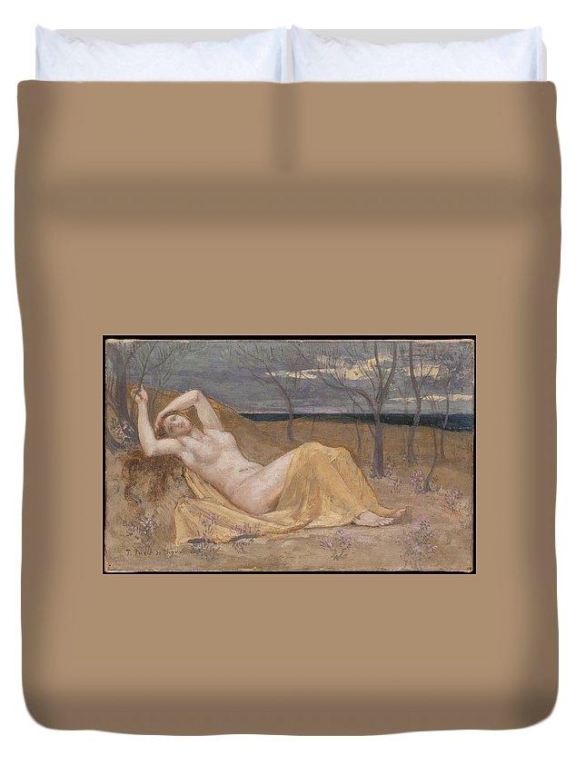 Pierre Puvis De Chavannes Tamaris Duvet Cover featuring the painting Tamaris by Pierre Puvis de Chavannes