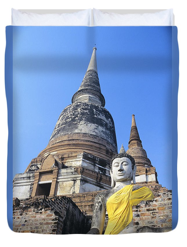 Ancient Duvet Cover featuring the photograph Thailand, Ayathaya by Gloria & Richard Maschmeyer - Printscapes