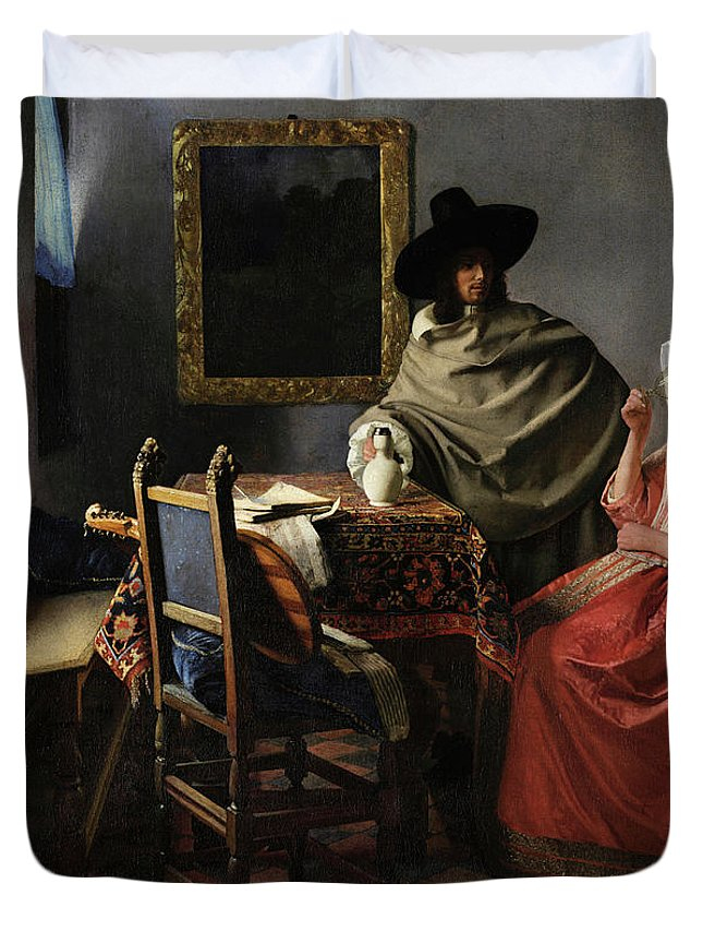 The Glass Of Wine Duvet Cover featuring the painting The Glass Of Wine by Johannes Vermeer