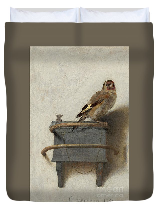 The Goldfinch Duvet Cover featuring the painting The Goldfinch by Carel Fabritius