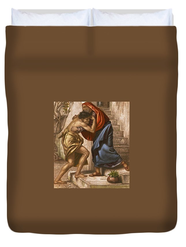 Prodigal Duvet Cover featuring the painting The Return Of The Prodigal Son by English School