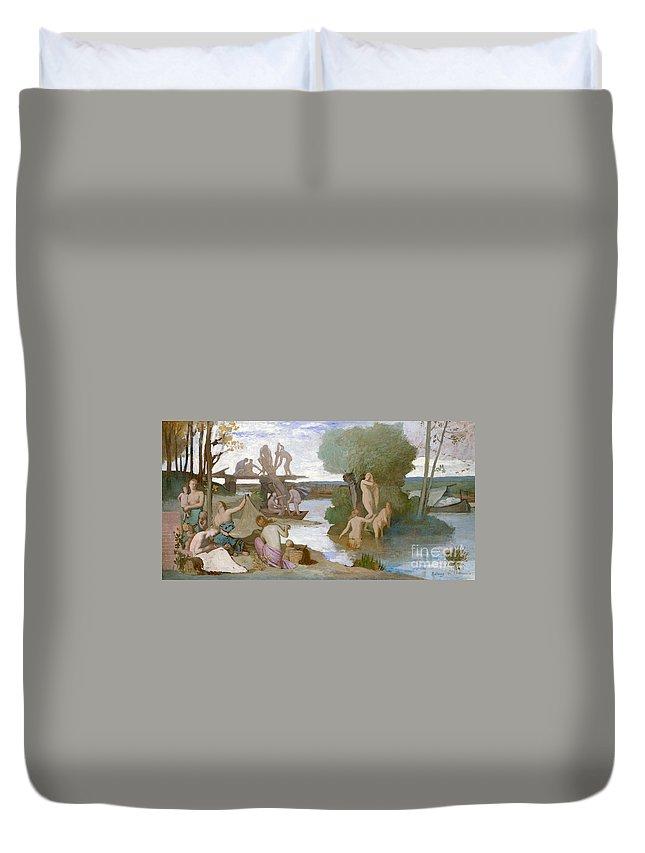 Puvis De Chavannes Duvet Cover featuring the painting The River by Pierre Puvis de Chavannes