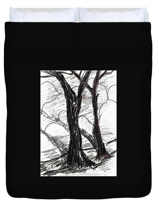 Tree Duvet Cover featuring the drawing Two Tree by Hae Kim