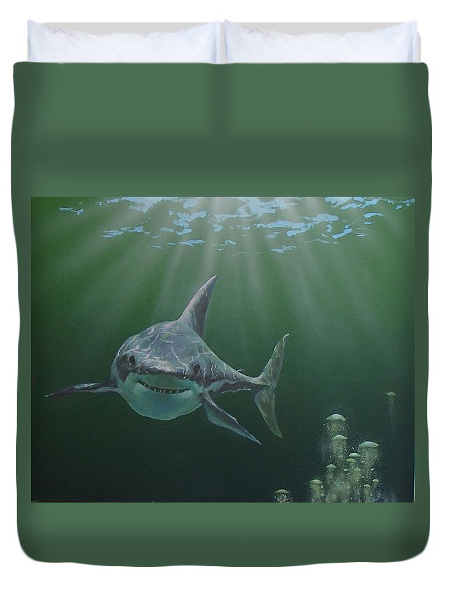 Shark Duvet Cover featuring the painting Untitled 3 by Philip Fleischer