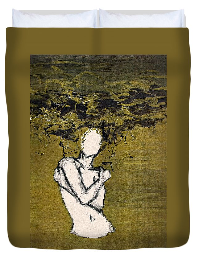 Gold Woman Hair Bath Nude Duvet Cover featuring the mixed media Untitled by Veronica Jackson