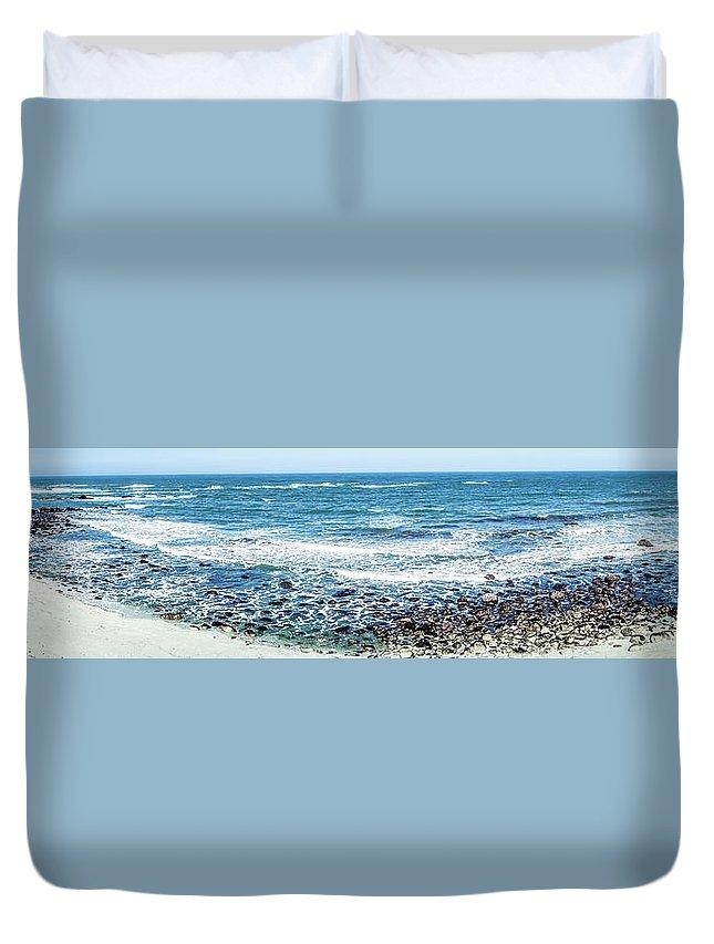 Landscape Duvet Cover featuring the photograph Usa California Pacific Ocean Coast Shoreline by Alex Grichenko