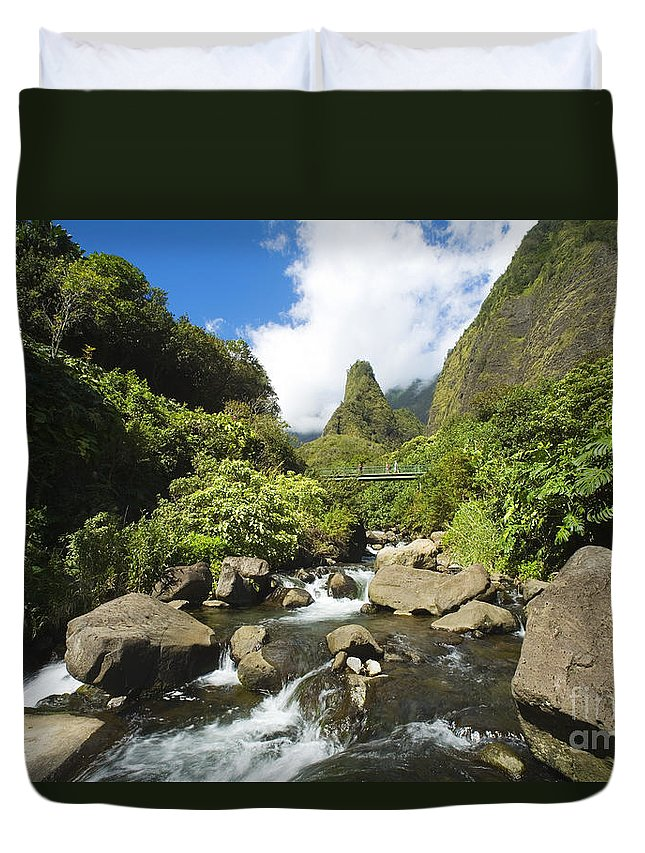 Afternoon Duvet Cover featuring the photograph View Of Iao Needle by Ron Dahlquist - Printscapes