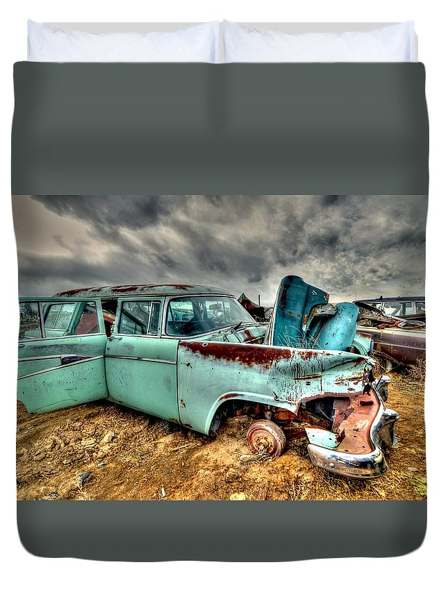 Salvage Yard Duvet Cover featuring the photograph Wagon by Craig Incardone