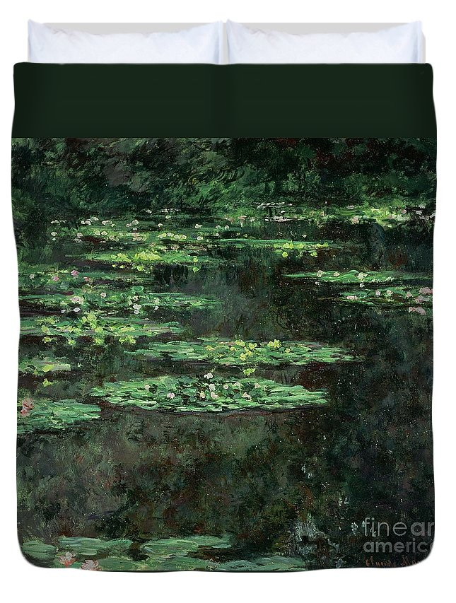Impressionist; Pond; Garden; Nympheas; Waterlily; Water Lilies; Lily Duvet Cover featuring the painting Waterlilies by Claude Monet