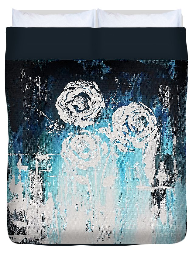 Flowers Duvet Cover featuring the painting 3 White Roses by Angelina Cornidez