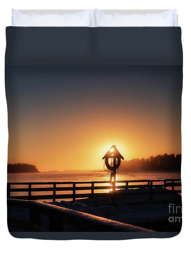 Winter Cold February Evening Baltic Sea Gulf Of Finland Ice Floe Shapes Shapes Pattern Patterns Blue Seaside Forest Silhouette Sun Sunset Afterglow Reflection Reflections Rock Finland Pier Snow Cover Duvet Cover featuring the pyrography Winter By The Sea by Anita Raunio