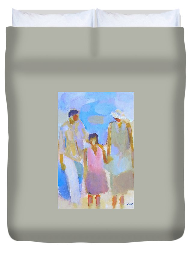 Abstract Duvet Cover featuring the painting 3 With Love by Habib Ayat