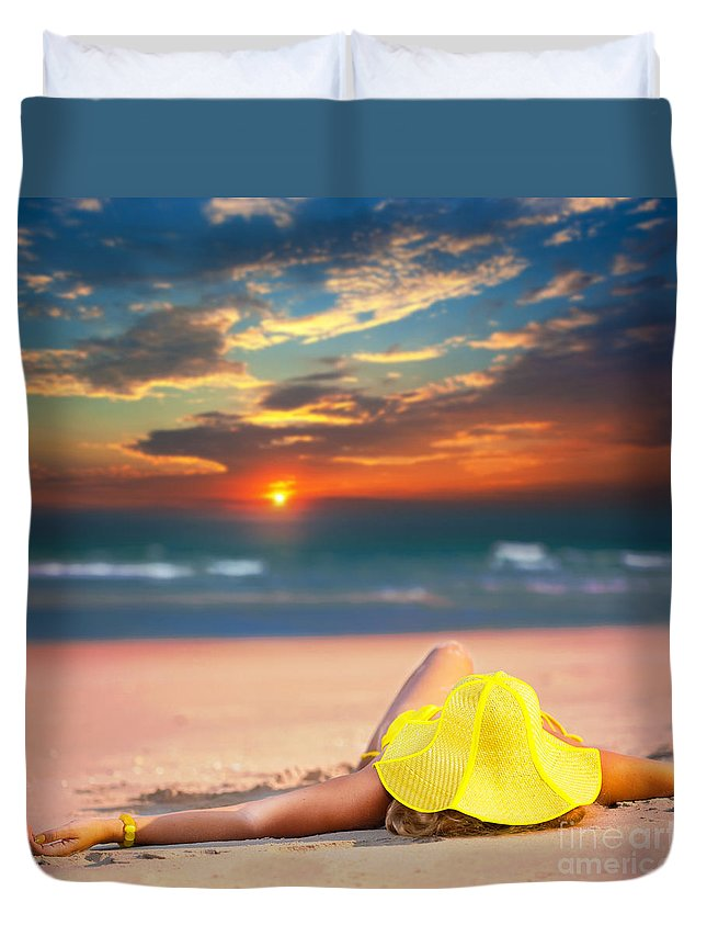 Girl Duvet Cover featuring the photograph Woman On The Beach by MotHaiBaPhoto Prints