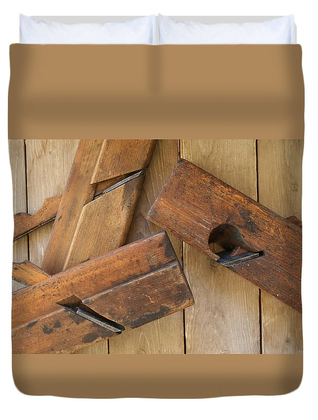 Tool Duvet Cover featuring the photograph 3 Wood Planes by Marna Edwards Flavell