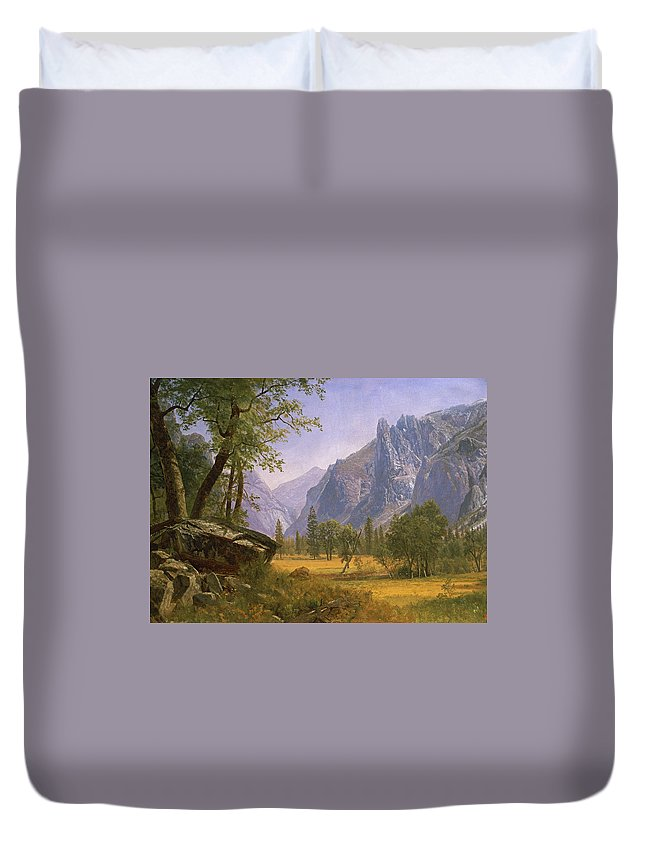 Albert Bierstadt Duvet Cover featuring the painting Yosemite Valley by MotionAge Designs