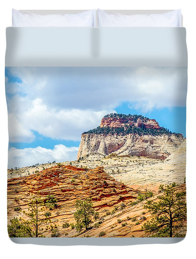 Zion Duvet Cover featuring the photograph Zion Canyon National Park Utah by Alex Grichenko