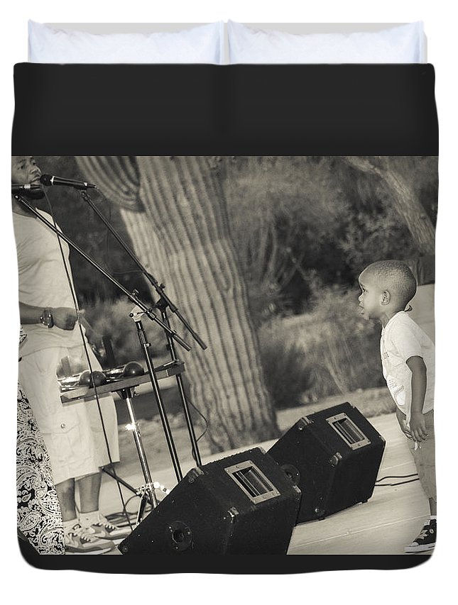 Rock Duvet Cover featuring the photograph Concert Audience by Marit Runyon