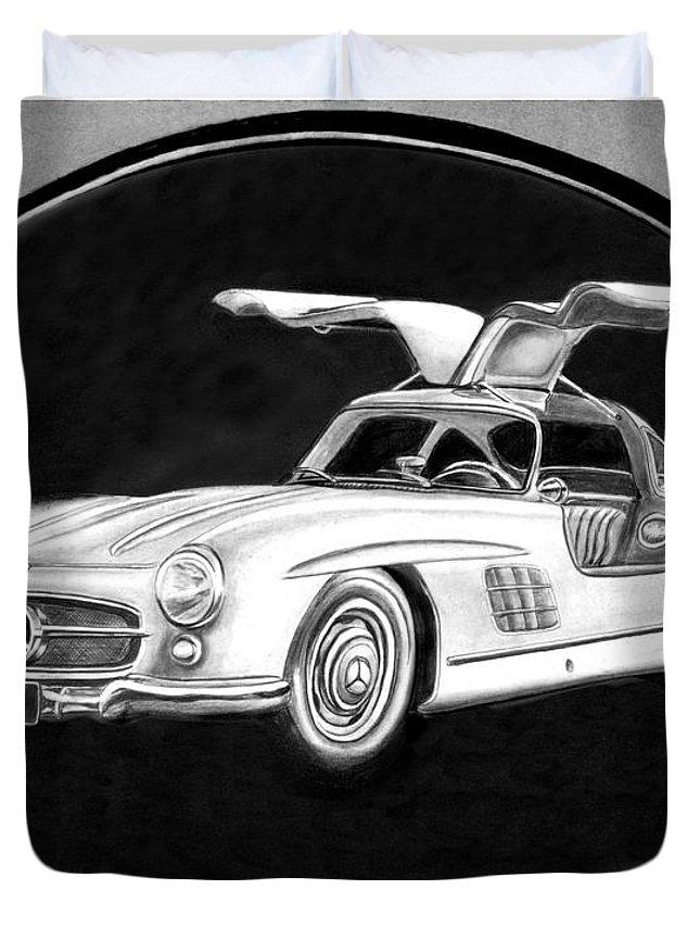 Mercedes Benz 300 Sl Gullwing Duvet Cover featuring the drawing 300 Sl Gullwing by Peter Piatt