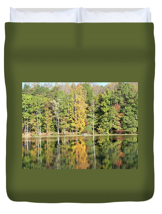 Lake Duvet Cover featuring the photograph 3007-fall Waterscape by Martha Abell