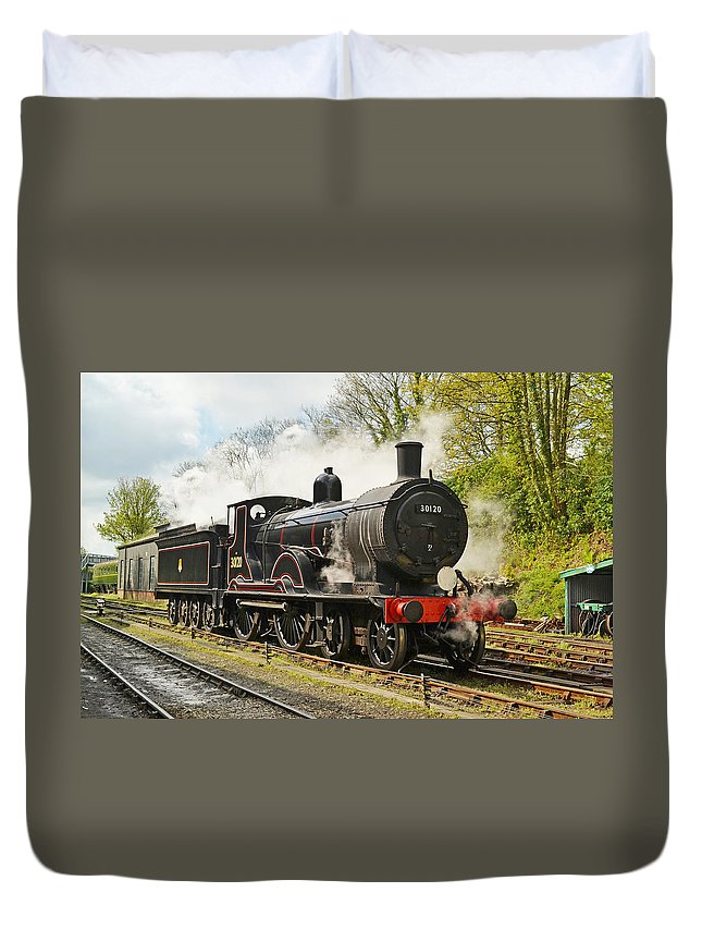 Steam Duvet Cover featuring the photograph Steam Train At Rest. by Ashley Jackson